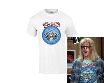 Wayne's World Garth Aerosmith T-shirt Halloween Costume White Shirt Adult and Kids sizes WHITE