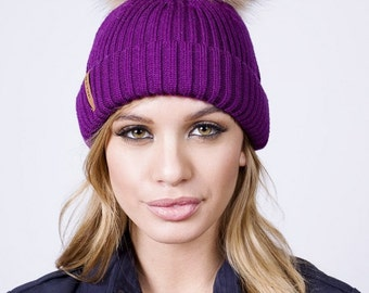Blackcurrant Merino Wool Fur Boble Hat
