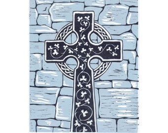 Celtic cross original linocut print, Original print, Relief printmaking, Medieval Ireland, Robin Harney, Bright Robin Studio