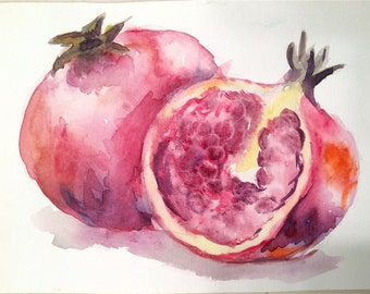 Original Pomegranate Watercolor Painting