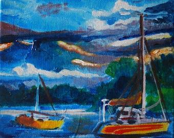 Boats on a Lake - Abstract