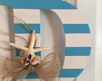 Beach theme initial door hanger