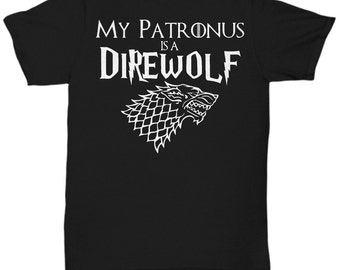 Game Of Thrones , Harry Potter  My Patronus is a Direwolf T Shirt Great Birthday Gift