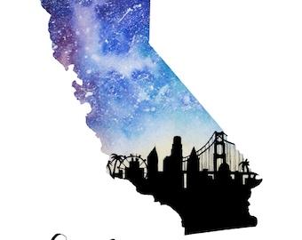 "California Galaxy in Watercolor- 9"" x 12"" Print"
