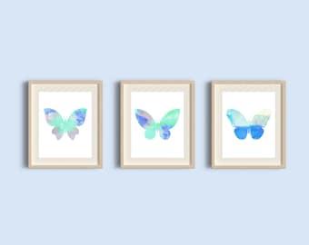 Butterfly Art Print, Watercolor Butterflies, Butterfly Art, Blue Butterflies, Set of 3 prints, Butterflues set, Butterflies print