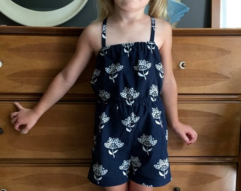 The Mabel Romper: Little Girl's Romper/Playsuit, Navy Blue with White Flowers, size 2T
