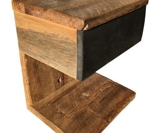 Reclaimed Threshing Board wood Meteor Nightstand with Drawer