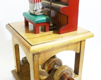 Blues pianist automata with wooden mechanism, gears and crank. Wooden toys. Collecting, collections and play. Kinetic art