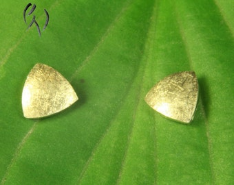 Earrings gold 585 /-, mini triangle Matt scratched