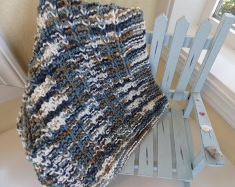 Knitted Mini Blanket - Blue
