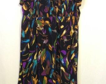 knit dress, xl dress, short gathered dress, size XL, colorful dress, lightweight dress
