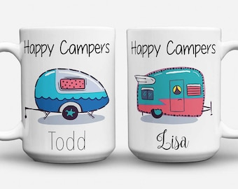 Happy Camper, His and Hers Coffee Mug, His and Hers Mugs, Personalized Mug, Camping Mug, Personalized Camping Mug, Couples Camping Mugs