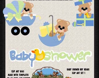 Baby Shower Clip Art   Boy Baby Shower   Commercial Use Clip Art   Instant  Download