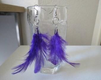 Handmade violet  feathers Earrings
