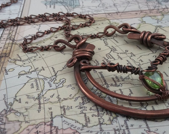 Aries the Ram Copper and Chinese Peridot statement necklace