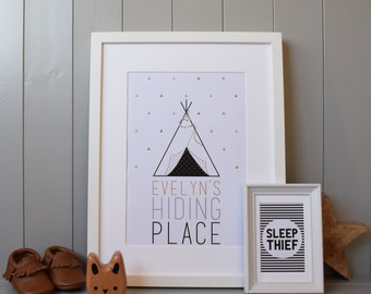 Tipi Hiding Place Print Wall Art (A4) - Customised Personalised for Nursery/Child's Room (Tepee/Teepee) Gift