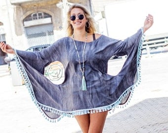 Gray tye dye one size bat sleeve top - gray boho tunic with ponpons - women plus size kimono top