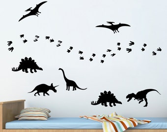 Pack of 7 vinyl dinosaurs & footprints - Dinosaur vinyl Decal Sticker - Children - Nursery wall decals