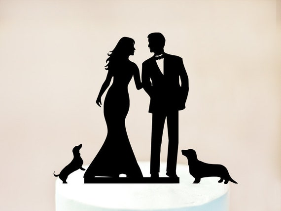wedding cake topper silhouette with dogs wedding cake topper with cat and dogs cake topper dogs 26501