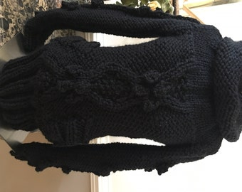 Bulky Style Cable Sweater with Pockets