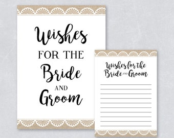 Bridal Shower Game / Wishes for the bride and groom / Bridal shower card / Rustic burap and lace  / DIY printable / INSTANT DOWNLOAD