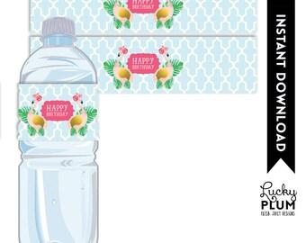 Flamingo Water Bottle Label / Flamingo Napkin Rings / Luau Water Bottle Label / Tropical Water Bottle Label / Tropical Napkin Ring