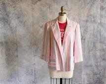 pastel striped blazer . pink and gray blazer . womens blazer . 1980s dress jacket . NWT . NOS . size medium