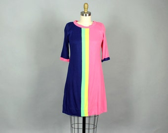 1960s Lilly Pulitzer dress, bright stripe shift dress . mod color block twiggy dress size small, hot pink, navy blue, green, yellow