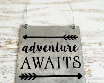 Adventure Awaits Sign Nursery sign Baby room adventure sign office decor housewarming gift graduation gift
