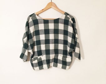 Vtg 90s Cropped Flannel Top// Bat Wing Plunge Back //Button Down// Ladies M