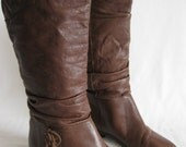 VTG 80's BOOTS Brown Leather SZ 7 Mid Calf slouchy side laces low heels Brazil