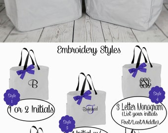 Personalized Bridesmaids Gift Tote Bags Set of 6 Monogrammed Tote, Bridesmaids Tote, Personalized Tote