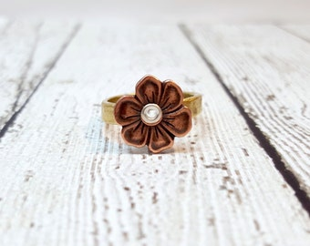 Copper Apple Blossom Ring, Apple Blossom Jewelry, Stacking Ring, Stackable Ring, Gold Plated Pewter, Floral Ring, Blooming Ring, Simple Ring