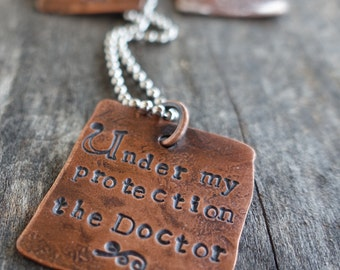 Doctor Who Under My Protection Custom Quote Copper Pendant