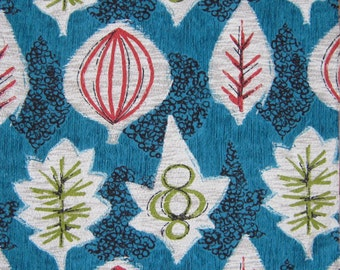 Vintage 50s Barkcloth Fabric Mid Century Atomic Botanical