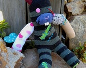 Sock Zombie Bunny made from parts of other animals - head gash, dangling eye, gut wound & severed leg