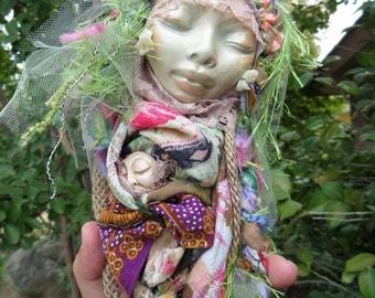 Ooak art doll, Cottage shic decor, Iris Rainbow Goddess, Bohemian Art Dolls, Wedding Gift