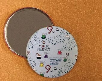 3.5 Inch Seattle Purse Mirror - Seattle Compact Mirror, Seattle Pocket Mirror, Seattle Hand Mirror, Round Mirror