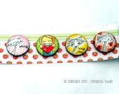Round Magnets of original artwork Valentine Loves - Set of 4