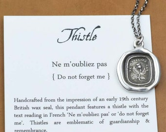 Thistle necklace - Do Not Forget Me - Scottish Thistle Jewelry Dinna Forget - 300