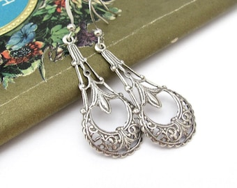 Art Deco Earrings, Vintage Style, Art Nouveau, Filigree Silver Plated or Copper, Ornate Dangle Chandelier, Wedding Jewelry, Hawaii Beads