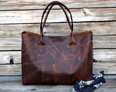 Large Leather Tote Bag / Large Hand Stitched Bag / SunsetTan Leather / Unisex tote / Mens Leather Tote / Market Tote / Lap Top Tote