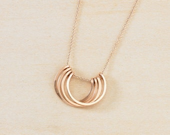 NEW Rose Gold Layered Circles Necklace, Four Open Circles on Chain, Modern Minimalist Circle Jewelry, Handmade Hammered Pink Gold Circles