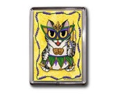 Mardi Gras Cat Magnet New Orleans Cat Magnet NOLA Mardi Gras Mask Beads Big Eye Chibi Cat Framed Magnet Gifts For Cat Lovers