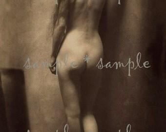 SALE no6326 Instant Digital Download - Victorian Risqué - Vintage Nude Woman - Erotic Sepia Photograph - Mixed Media - Art Print