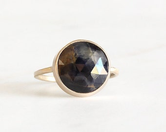 14k gold blue sapphire ring, rose cut sapphire,