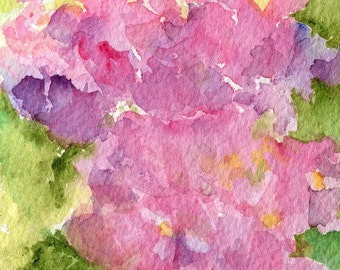 Pink Hydrangeas watercolors paintings original, flowers painting 4 x 6 purple, pink original watercolors artwork floral