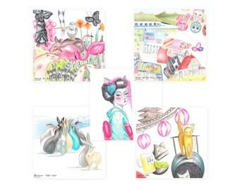 Postcards from Japan - illustration kyoto geisha cats rabbits bunny island japanese postcard set sketchbook