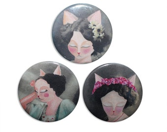 Cat badge Pins - Glamour Puss victorian vintage cats - set of 3