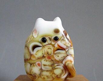 Handmade Lampwork Floral Focal Cat Bead - Greg FatCat